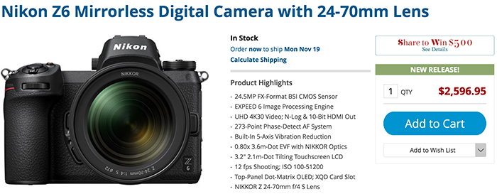 nikon z6 finally in stock and sony finally dropping the price of