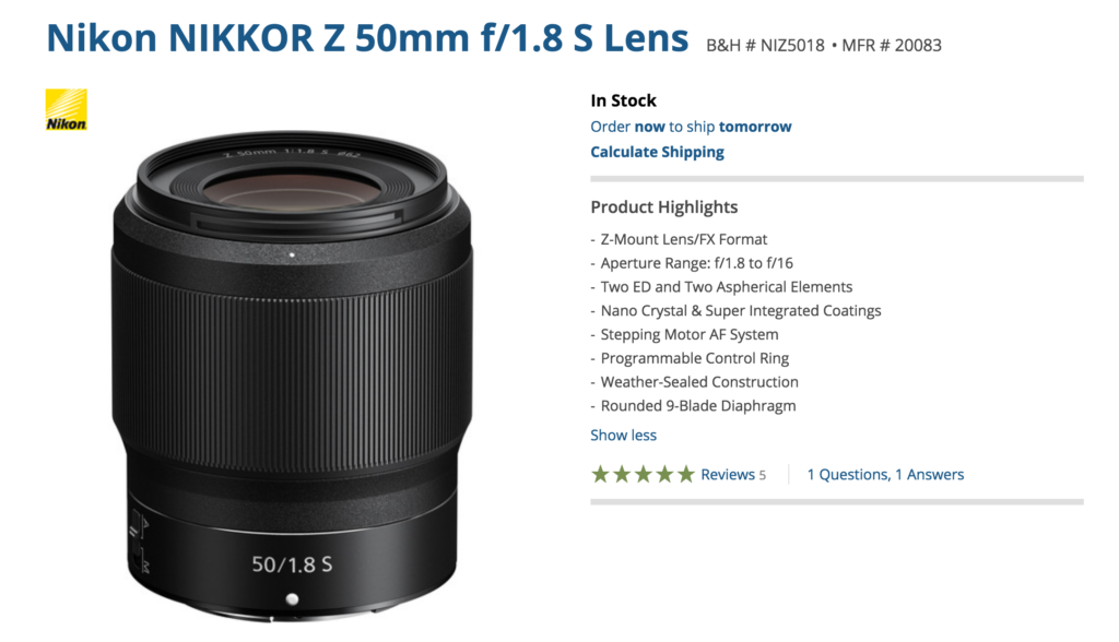 """Nikon Z 50mm F1 8 S tested at Dpreview: """"outstanding sharpness"""